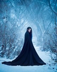The girl a demon walks alone. She is wearing a long, black traveling cloak.