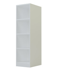Blank Empty Rounded Showcase Display With Retail Shelves. 3D rendering isolated on white background. Mock Up, Template. Product Advertising.