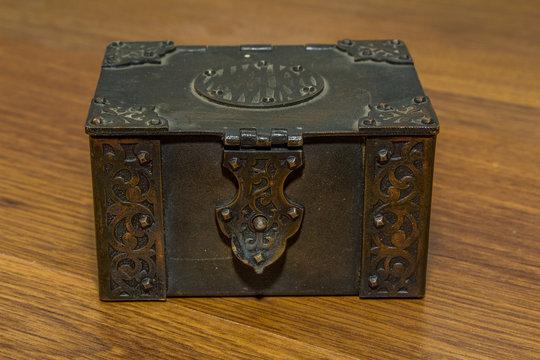 retro metal casket with jewelry