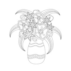 Coloring book for adults and children. Bouquet of Fantasy flowers in vase. Black and white monochrome vector illustration.