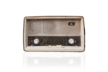vintage radio isolate on white background