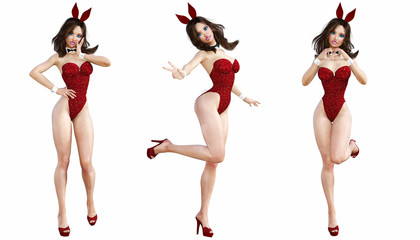 Set Bunny Girl. Sexy woman long legs. Red swimsuit shoes. Playboy. Conceptual fashion art. Blue eyes. Seductive candid pose. Photorealistic 3D render illustration. Isolate. Studio, high key.