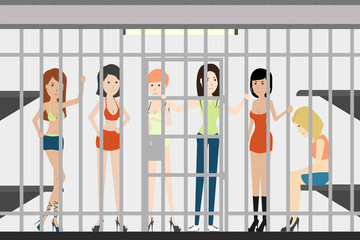 People in jail in police station. Dangerous prisoners. Guilty and isolated. Prostitutes.