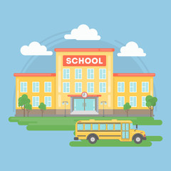School and yellow bus. Landscape with school building, grass and clouds. Urban exterior.