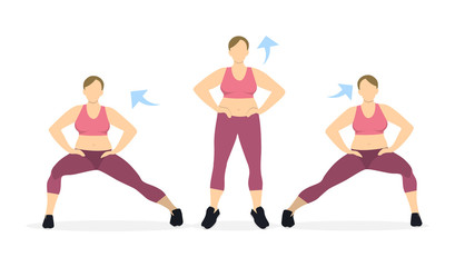 Lunges exercise for legs on white background. Healthy lifestyle. Workout for legs. Exercises for fat women.