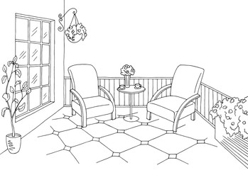 Balcony graphic black white interior sketch illustration vector