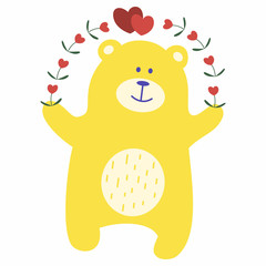 Teddy bear with an arch of flowers and hearts. Yellow toy bear for design of children's goods and things. Sticker for a photo shoot with cute little animals.