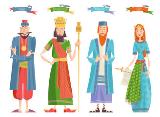 Jewish festival of Purim. Book of Esther characters and heroes: Achashveirosh, Mordechai, Esther, Haman.