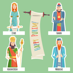 Finger puppets for Jewish festival of Purim. Book of Esther characters and heroes: Achashveirosh, Mordechai, Esther, Haman.