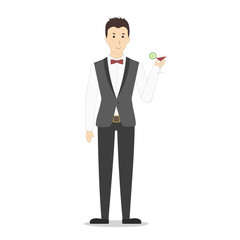 Isolated bartender on white background. ma in uniform with a glass of alcohol cocktail.