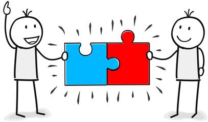 Zwei Figuren mit passenden Puzzle Teilen in einer Partnerschaft