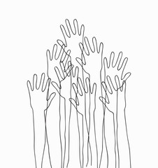 Hands up concert. Monochrome cartoon silhouette hands raised up in the air. Suitable for posters, flyers, banners.Vector illustration isolated on white background
