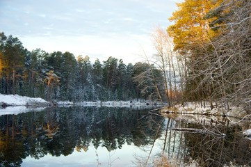 Symmetrical reflection in water Autumn snowy forest, Altai