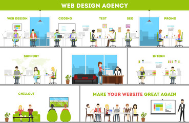 Web design studio interior set. Art and creativity office.