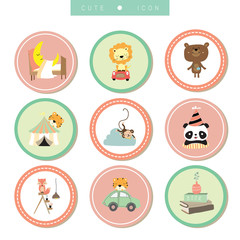 Cartoon icon collection with bear,fox,tiger,panda,monkey,lion,ca