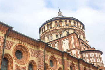 Milan's famous church Santa Maria Delle Grazie, hosting in it's refectory, The Last Supper mural painting by Leonardo da Vinci. street view