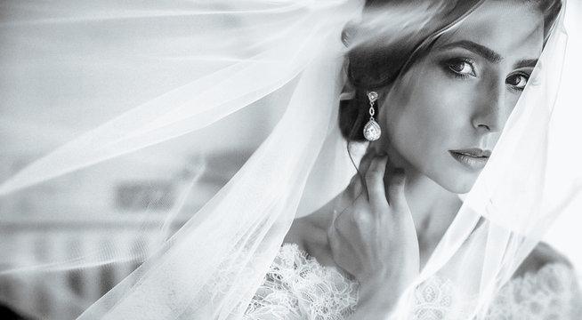 young beauty bride with big eye