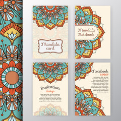 Set of vintage invitation and background design with Mandala decoration. Round decorative ornament design for greeting card, wedding invite, notebook cover, flyer or leaflet design.