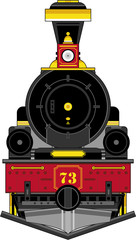 Cartoon Wild West Style Locomotive Train