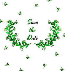 Save the date card with green laurels.