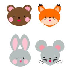 Cute animal head. Teddy bear, rabbit, fox and mouse. Cute Japanese anime style.