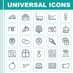 Set Of 25 Universal Editable Icons. Can Be Used For Web, Mobile And App Design. Includes Elements Such As Discussion, Nectarine, Cardboard And More.