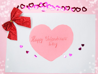 greeting card with confetti frame valentine's day love concept b