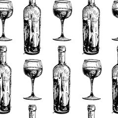 Seamless texture. A bottle of wine. Wineglass. Repeated pattern. Background for your blog. Nice background for your projects. Desktop wallpapers.