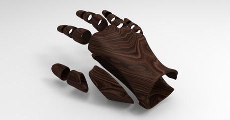 3D Illustration Of A Segmented Humanoid Hand