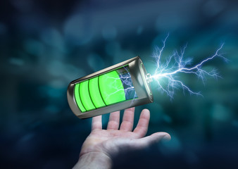 Man holding 3D render battery with lightning in his hand