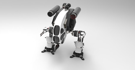 3D Illustration Of A Futuristic Armored Mech Vehicle