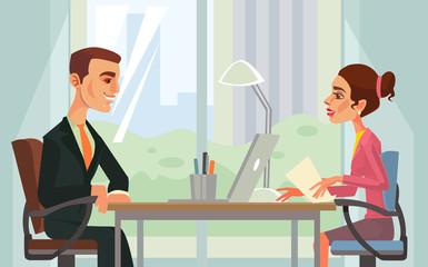 Job interview. Workers characters. Vector flat cartoon illustration