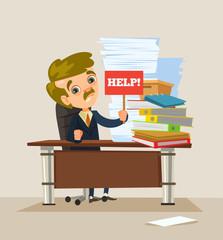 Man office worker character working hard. Vector flat cartoon illustration