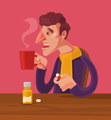 Sick man character take medicine. Vector flat cartoon illustration