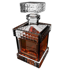Decanter with whiskey.3D render