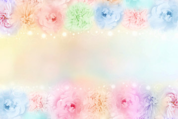 beautiful pastel rose flower frame on soft bokeh vintage background for valentine or wedding