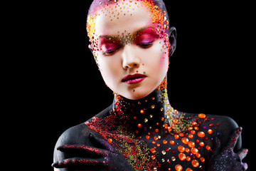 Young attractive girl in bright art-makeup, body painting.