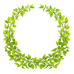 Big wreath of tree branches with green leaves. Vector illustration. Design element for floral emblem.
