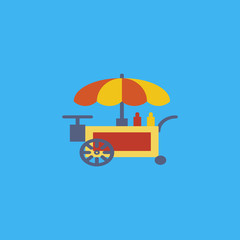 Street fast food cart icon. flat design