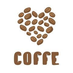 Coffe beans in heart. Vector coffee beans illustration with text