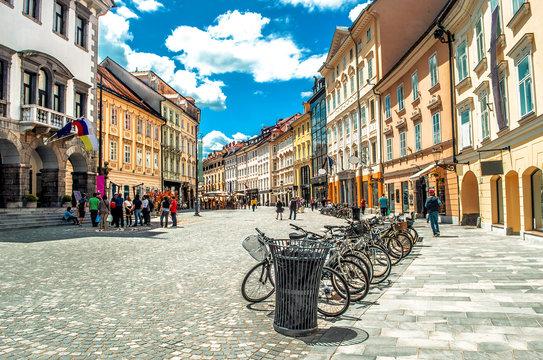 colorful street Ljubljana summer Lubiana buildings clean urban area