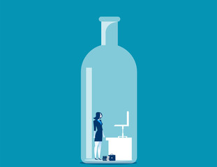 Businesswoman trapped in the bottle