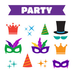 Party Birthday photo booth props. Hat and mask, costume and cyli