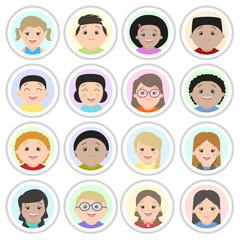 Avatars, children's portraits. Boys and girls of different nationalities, portraits. Cartoon vector