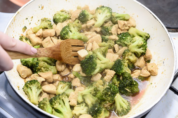 Cooking and serving of broccoli with chicken breast
