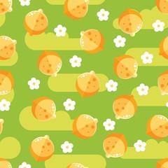 Lemon fruit and flowers tree seamless flat pattern.