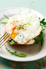 Open Face Breakfast Sandwich With Ricotta Spread