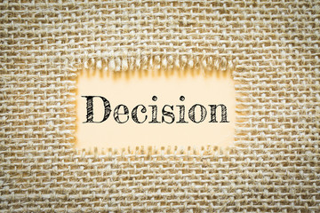 Text Decision on paper Orange has Cotton yarn background you can apply to your product.