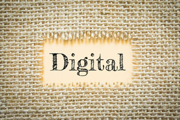 Text Digital on paper Orange has Cotton yarn background you can apply to your product.