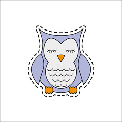 Sleeping owl. Vector illustration.